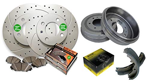 Front Drilled & Slotted Geomet Coated Rotors and Premium Ceramic Pads featuring Tripple Layer Wolverine Shims & Rear OE Spec Quiet Technology Drums and Perfect Fit Premium Brake Shoes BK40184DS   Fits ()