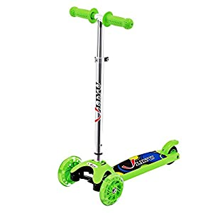 Scooter, LIYU 3 Wheel Kick Scooter for Kids Boys Girls Adjustable Height PU Flashing Wheels Best Gifts for Children from 2 to 8 Year-Old 77lbs Kids (Green)