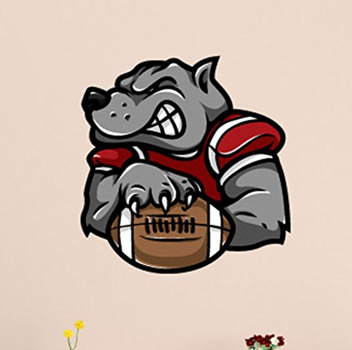 Bulldog Football mascot Wall Decals Stickers USColor003, Grey, 36 Inches