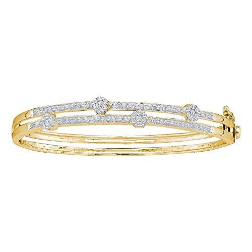 Roy Rose Jewelry 14K Yellow Gold Womens Round Diamond Flower Cluster Bangle Bracelet 1-Carat tw - Diamond Cluster Flower Bracelet