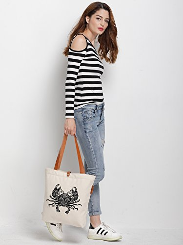 IN.RHAN Women's Crab Geometric Pattern Canvas Handbag Tote Bag Shoulder Bag