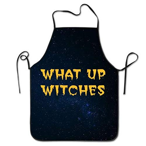 Mouthdodo Halloween What UP Witches Design Black Apron for Women Men, Perfect for Kitchen Cooking Baking BBQ Or Painting