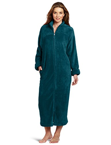 Casual Moments Women's 52 Inch Breakaway Zip Robe, Teal Green, Small