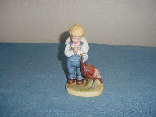 Denim Days Figurine - Homco Denim Days Figurine Boy with Turkey