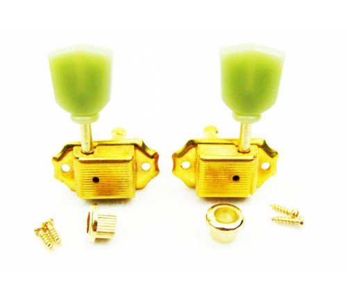 IKN 3L3R Deluxe Guitar Tuning Pegs Machine Head Tuners for Gibson Les Paul Style Replacement, Real Golden Plated