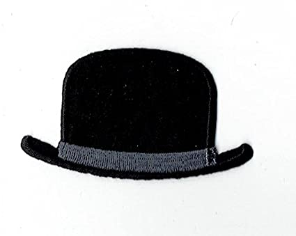 Amazon.com  Black Hipster Bowler Hat Iron on Embroidered Patch  Arts ... c6c0baff1d6