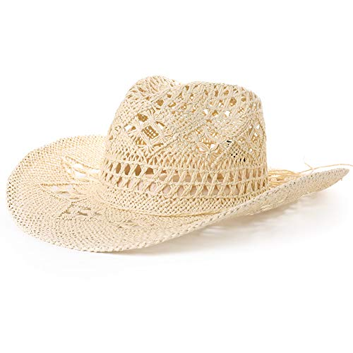 Womens Western Style Round Up Cowboy Straw Hat Ladies Fedora Chin Cord Shapeable Brim Beach Cowgirl ()