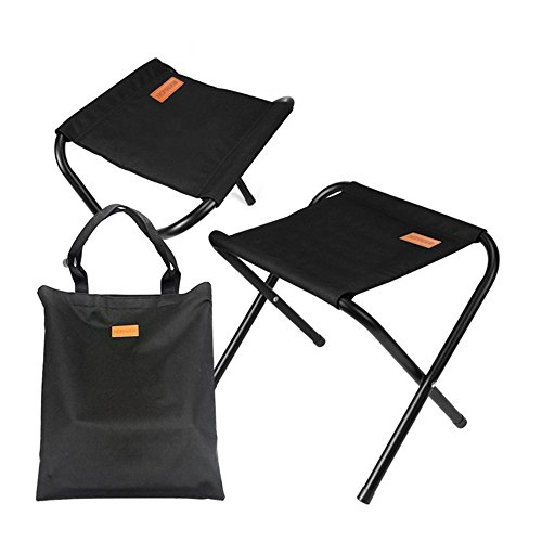 YIBANG-DZSW Premium Materials Camping Bench Black Oxford Outdoor Folding Cross Stool Set,Also Known As Beach Chair Fork Stool,Fishing Chair,BBO Stool, Provide Support and Comfort Sturdy Lightweight