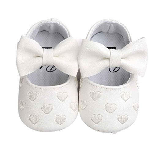 Fheaven Baby Girl Bowknot Leater Shoes Sneaker Anti-slip Soft Sole Toddler (US:2.5( Age:0~6M), -