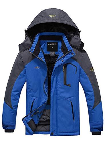 CIOR Men's Mountain Waterproof Ski Jacket Windproof Rain Jacket,UI18WCFY031,Blue,XL