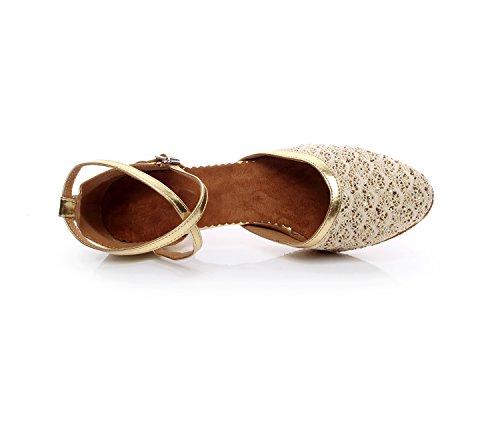 Minishion TQJ7069 Womens Chunky Low Heel Glitter Tango Latin Ballroom Dance Pumps Shoes Gold 43GpJ6