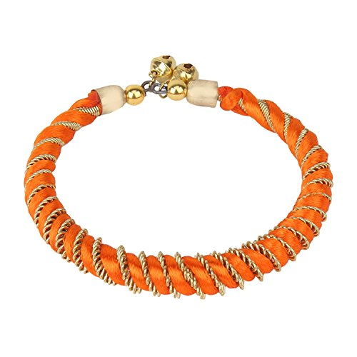 Aradhya Women's Elegant Silk Thread Designer Orange Bracelet (Set Of 2) by Aradhya