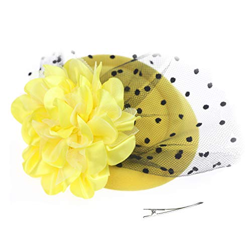 (DRESHOW Fascinator Hat Cocktail Tea Party Bow Hat Netted Pillbox Hat with Hair Clip and Headband for Women and Girls)