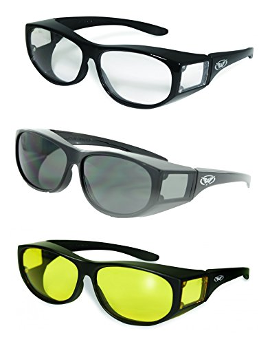 Global Vision Escort Safety Fit Over Glasses  Black Frame  3 Pack   1 Clear Lens  1 Smoke Lens  1 Yellow Lens