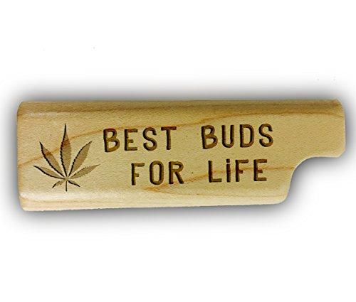 Best Buds for LIfe Pot Weed Leaf Logo 3D Laser Engraved - Disposable Lighter Wooden Cover Case