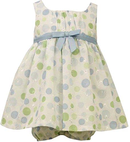 Bonnie Jean Baby Girls 3M-24M Aqua-Blue Green Dot Print Embroidered Eyelet Dress (3-6 Months, Aqua) ()