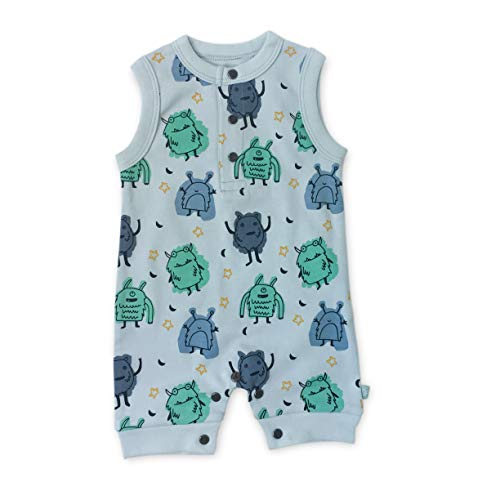 Finn + Emma One-Piece Organic Cotton Romper for Baby Boy or Girl - Monsters, 6-9 Months