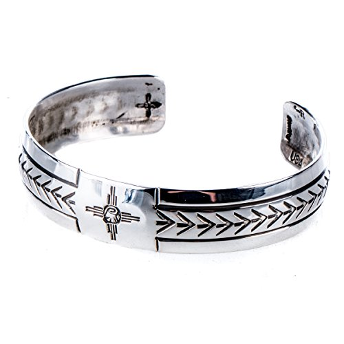 Tskies: Silver Bracelets for Women, Attune Cuff 'Zia' Stamp Finish, 100% Navajo American Made Jewelry ()