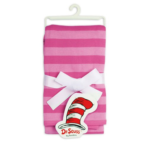Bumkins Dr. Seuss Receiving Blanket, Pink Stripes (Discontinued by Manufacturer)