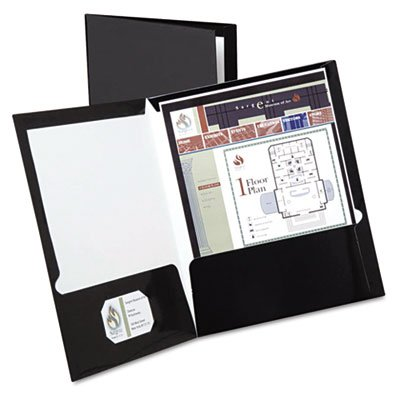 High Gloss Laminated Paperboard Folder, 100-Sheet Capacity, Black, 25/Box