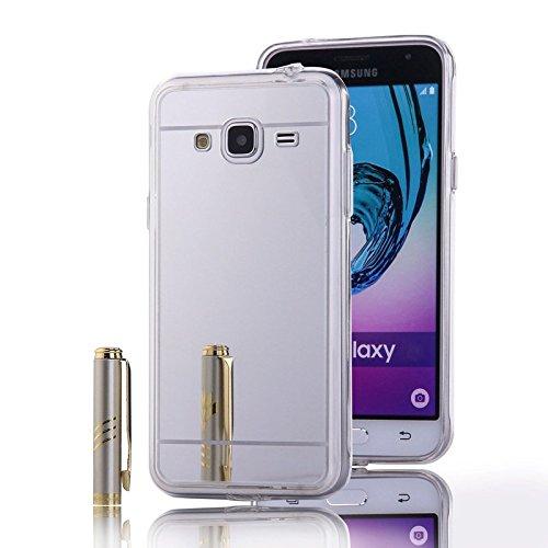 Samsung Galaxy Amp Prime Case, Nicelin Acrylic Plastics Mirror Plane Cover and Soft TPU Material Case for Samsung Galaxy Amp Prime (Cricket) / SM-J320AZ [NOT for Samsung Galaxy Amp 2 ] (Silver)