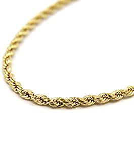 "Mens 14K Yellow Gold Filled 5mm Rope Chain Necklace 30"" Inches"