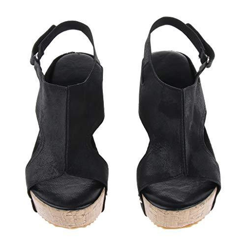 Tacón Vintaje Artificial Ipotch Alto Plataforma Con Tachuelas Zapatos De Cuero Sandalias Negro wvwOnYpq