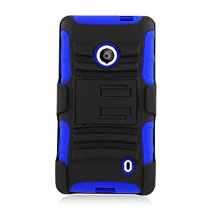 Lumii Ark (TM) Hybrid Rugged RICH Series with Kickstand for Nokia Lumia 521 - Retail Packaging - (Blue/Black)