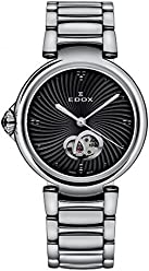 Edox Womens LaPassion Swiss Automatic Stainless Steel Dress Watch, Color:Silver-