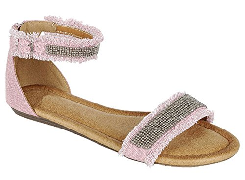 Best Pink Glittery Studded Flat Closed Heel Strappy Wide Band Peek Toe Sandal Indoor Sweet Cute Shoes Slipon Colores Ver Zapatos Escolares De Mujer for Sale Young Women Tween Girl Her (Size 6.5, Pink)