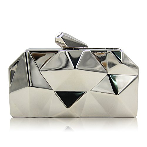Le Main Hexagon Soirée TuTu Mini Embrayage Sac de Sac de Party Personnalité Géométrique Soirée Irrégulière Box Tenant Iron silver Pxnz6Rx