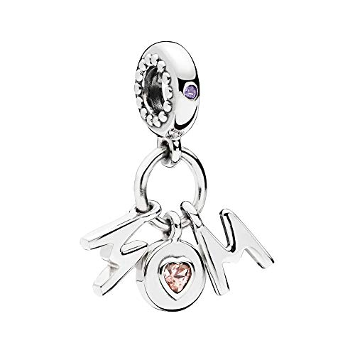 Perfect Mom Dangle Charm Authentic 925 Sterling Silver Mothers Love Beads fit Pandora Bracelets Necklace (Heart Crystal & M Letter)
