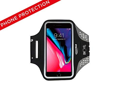 Stayfit Runner Cell Phone Armband iPhone 8, 7, 7S, 6, 6S, SE, 5 Samsung Galaxy S9, S8, S7, S6 Phones (Black/Grey) from Stayfit