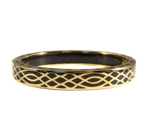 Andrew Hamilton Crawford 18k Gold Plated Infinity Bracelet in Black Colored Resin (Hamilton 18k Bracelet)