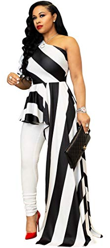 Kearia Women Sexy Striped One Shoulder High Low Irregular Tunic Tops Blouse Shirt Maxi Dress White & Black XLarge