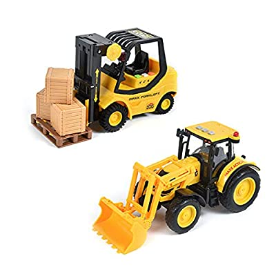 Sunny Days Entertainment Construction Vehicle – Lights and Sounds Pull Back Toy with Friction Motor | Receive Either The Fork Lift or Front End Loader | Color May Vary – Maxx Action: Toys & Games
