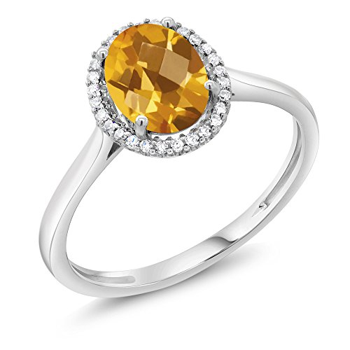 - Gem Stone King 10K White Gold Diamond Halo Engagement Diamond Ring 1.25 Ct Oval Checkerboard Yellow Citrine (Size 9)