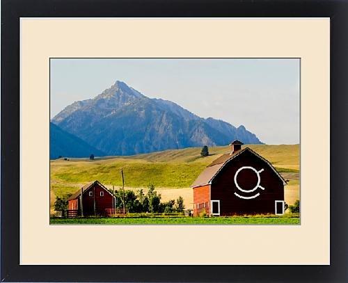Framed Print of Wallowa Mountains and red barn in field near Joseph, Wallowa County,