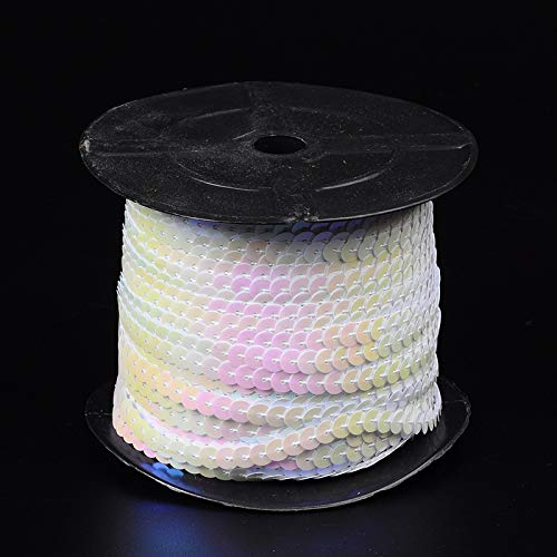 - Pandahall 2Rolls/200Yards Trim Beads Spangle Flat Sequins String Ribbon Roll 6mm Paillette Trim Spool String for Sewing Handmade Crafts Embellishments 100Yards/Roll(White AB)