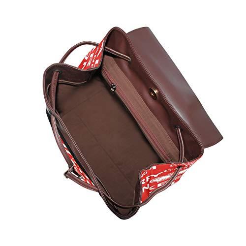 Kvinnor PU-läder kakel abstrakt ryggsäck handväska resa skola axelväska ledig dagväska