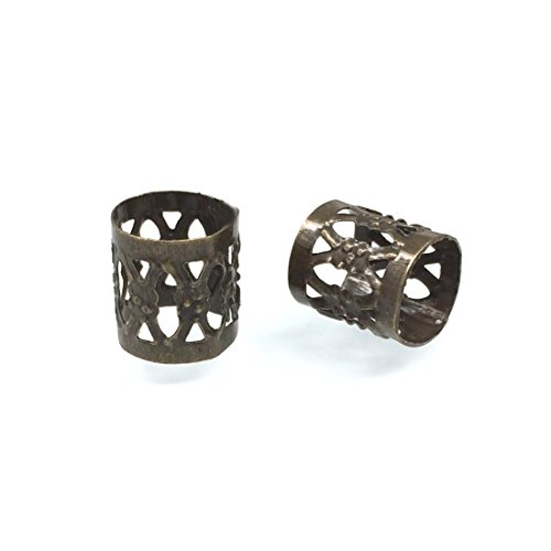 x8mm Filigree Tube Spacer Metal Beads (Large Hole ~7mm) | Antique Bronze Plated CF215-B ()