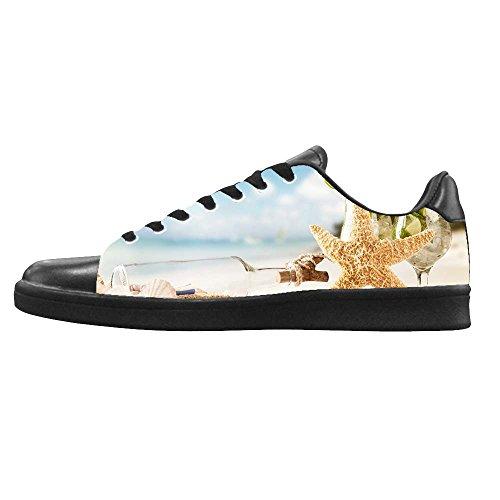 Zapatos De Lona Para Hombre Personalizados De Starfish Beach Los Cordones En Alto Encima De Los Zapatos De Las Zapatillas De Deporte De Lona.
