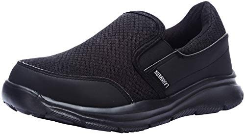 LARNMERN Steel Toe Shoes Women, Womens Safety Clog Water Resistant Mesh Slip-on Sneakers for Women Lightweight Breathable Work Footwear L8059 (8.5 US, Black)