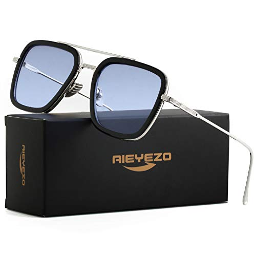 Tony Stark Sunglasses Vintage Square Metal Frame Eyeglasses...