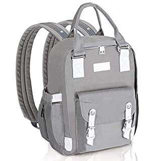 Boumuno Diaper Bag Backpack Baby Changing Nappy Bags Multifuction Waterproof Maternity Large Capacity with Insulated Pockets Stroller Straps (Grey-1)