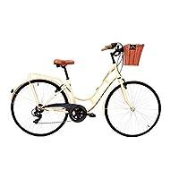 Cloot Bicicletas de Paseo-Bici Paseo Vintage 700 City Beige con Cambio Shimano 6V