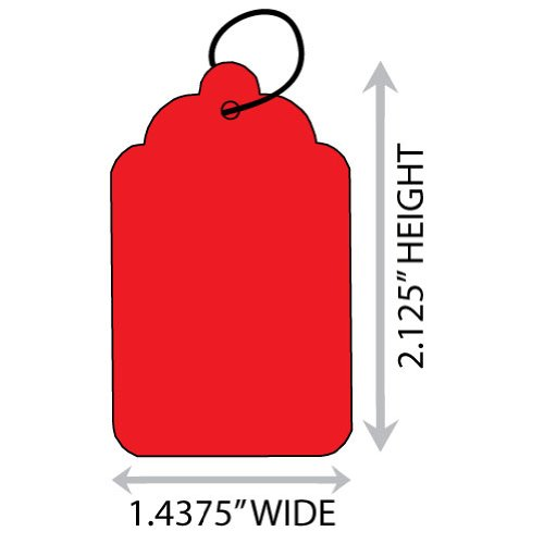 "UPC 849243004723, Red #7 (1.4375"" X 2.125"") Merchandise Tag With String. Case of 2,000 Tags."