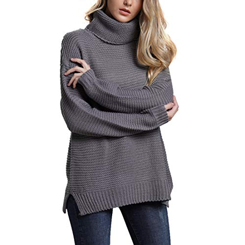 Belgius Chunky Turtleneck Sweater Women Winter Warm Knit Solid Color Pullover Sweater Grey M