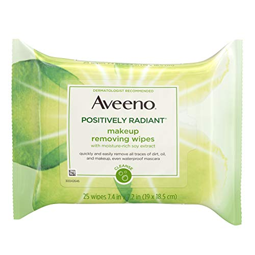 Aveeno Positively Radiant Oil-Free Makeup Removing Wipes to Help Even Skin Tone and Texture with Moisture-Rich Soy Extract, 25 ct. (Best Makeup To Even Skin Tone)