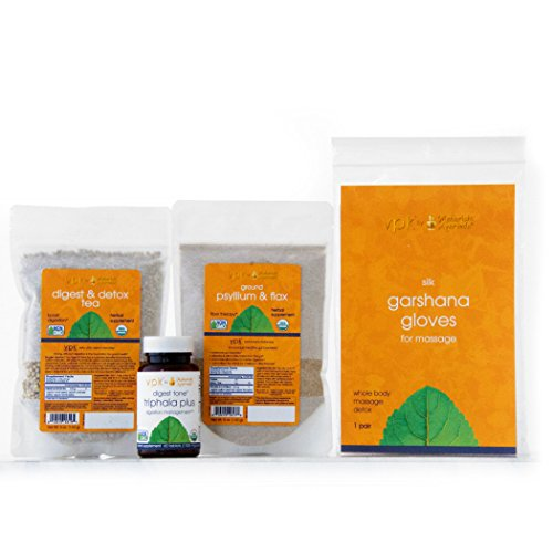 The Prime - Kulreet Chaudhary: Stage 1 - Moderate Track (Digest & Detox Tea, Digest Tone (Triphala Plus), Psyllium & Flax, Silk Garshana (Lymphatic) Massage Gloves)